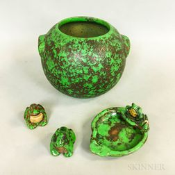 Weller Pottery Coppertone Bowl, Frog Dish, and Two Frogs