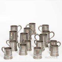 Sixteen Pewter Quart and Pint Tavern Mugs