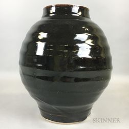 Black-glazed Stoneware Jar