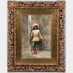 Antonio Maria Fabres y Costa (Spanish, 1855-1938)      Cavalier Holding a Pike
