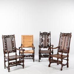 Three Carved Walnut and Caned High-back Open Armchairs and an Upholstered Walnut Open Armchair Frame