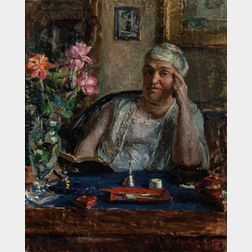 Claxton B. Moulton (American, active c. 1911-1921)      Woman at a Desk, Looking up from Reading