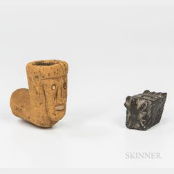 Two Early American Indian Stone Effigy Pipes
