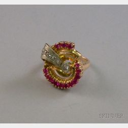 14kt Rose Gold Retro Synthetic Ruby and Diamond Ring