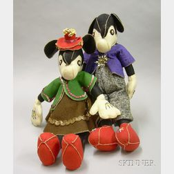 Handcrafted Felt Mickey and Minnie Mouse