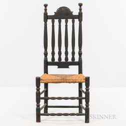 Black-painted Bannister-back Side Chair