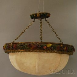Polychrome Painted Gesso and Wooden Della Robbia-style Circular   Hanging Light Fixture