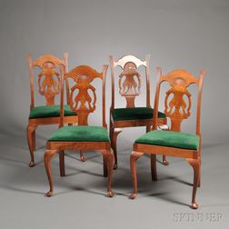 Set of Four Chippendale-style Dining Chairs in the Dunlap style