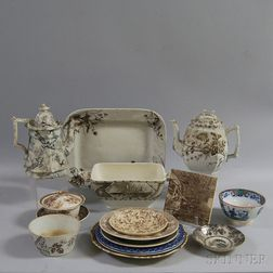 Small Group of Blue and Brown Transferware