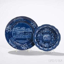 Two Transfer-decorated Staffordshire Plates