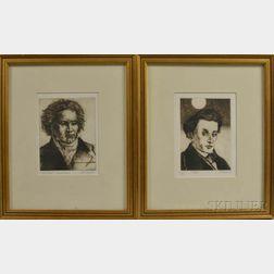 Two Framed Jack Coughlin (Massachusetts, b. 1932) Etchings