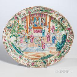 Large Rose Medallion Export Porcelain Oval Platter