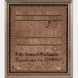 """""""Polly Symonds"""" Needlework Sampler"""