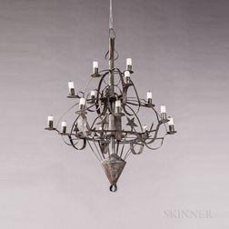 Tin Fourteen-light Star-decorated Chandelier