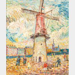 David Davidovich Burliuk (Ukrainian/American, 1882-1967)      Windmill at Rotterdam