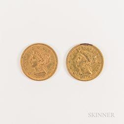 Two 1878 $2.50 Liberty Head Gold Quarter Eagle