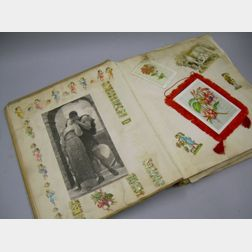 Victorian Embossed Album of Chromolithograph Trade Cards, Die-cuts, Scraps, Greeting Cards, Etc.