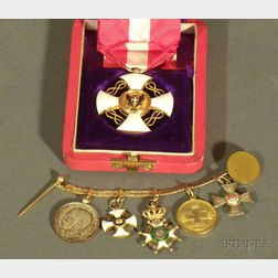 Boxed Gilt Metal Italo-German Order, and a Waistcoat Chain of Miniature Orders