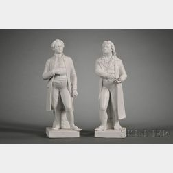 Two Continental Parian Porcelain Figures of German Authors