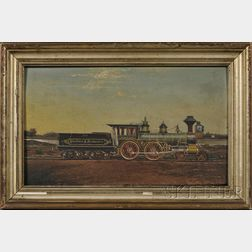 "American School, 19th Century      Portrait of the Steam Locomotive""Toppan Robie"" of the Portland and Rochester     Railroad."