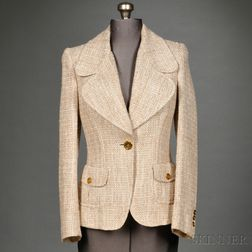 Burberry White and Taupe Silk Tweed Jacket