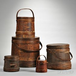 Five Covered Pails