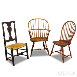 Two Windsors and a Queen Anne Side Chair