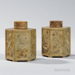 Pair of Carved Soapstone Covered Tea Caddies