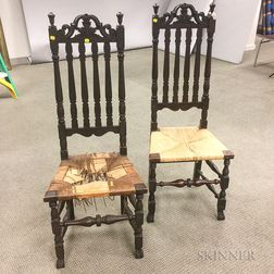 Pair of William and Mary-style Carved and Stained Maple Bannister-back Side Chairs