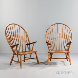 Two Hans J. Wegner (1914-2007) for Johannes Hansen Peacock Chairs