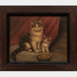 "American School, Late 19th Century      Portrait of ""Spunky"" and a Kitten"