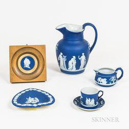 Five Wedgwood Dark Blue Jasper Items