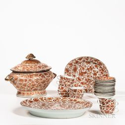 Fifteen Pieces of Orange Bird and Butterfly Pattern Chinese Export Porcelain