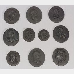 Ten Assorted Black Basalt Portrait Medallions