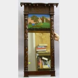 Classical Carved Mahogany and Reverse-painted Tabernacle Mirror.