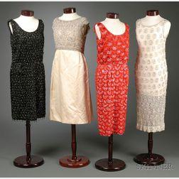Four Vintage Beaded 1950s-60s Cocktail Dresses