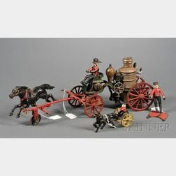 Pratt & Letchworth Cast Iron Fire Pumper and Several Other Cast Iron Items