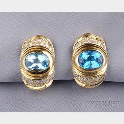 18kt Gold, Blue Topaz, and Diamond Earclips, Marina B.