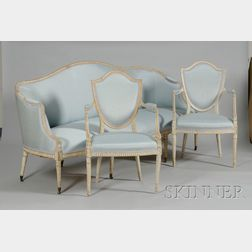 Three-Piece Louis XVI Style Upholstered White-painted Carved Wood Seating Group