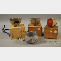 Four Ceramic Tea Ceremony Bowls