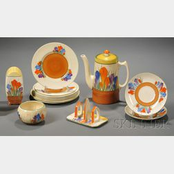 Fourteen Clarice Cliff Bizarre Ware Crocus Pattern Table Items