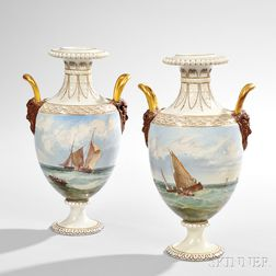 Pair of Wedgwood Hand-painted Queen's Ware Vases