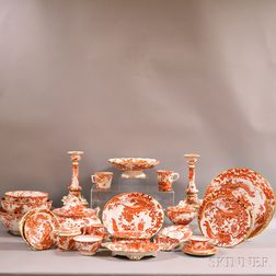 """Extensive Group of Royal Crown Derby """"Red Aves"""" Porcelain Dinnerware.     Estimate $3,000-5,000"""