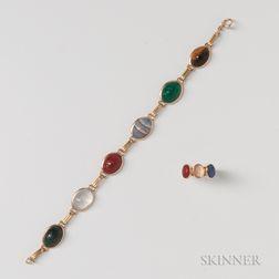 14kt Gold and Carved Hardstone Scarab Bracelet and Ring