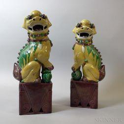 Pair of Sancai-glazed Shishi
