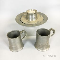 Pewter Plate, Inkwell, and Two Mugs