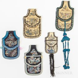 Five Embroidered Belt Purses