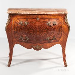 Louis XV-style Ormolu-mounted Satinwood and Mahogany Parquetry Commode