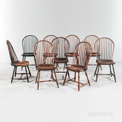 "Assembled Set of Ten ""Ten-spindle"" Bow-back Windsor Chairs"