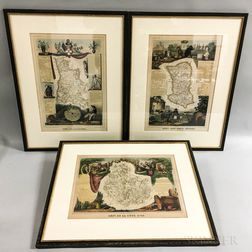 Three Framed French Hand-colored Engravings of Maps